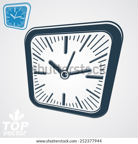 3d vector square wall clock with black dial, simple version included. Time idea conceptual classic symbol. Time management conceptual elegant symbol.  - stock vector