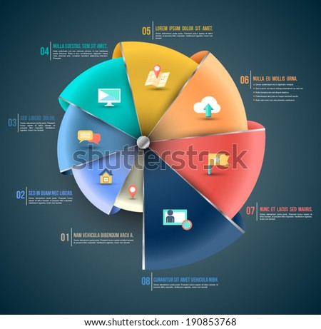 3D vector step options template with flat icons.  - stock vector