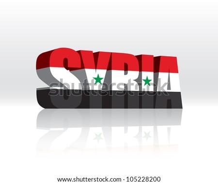 3D Vector Syria Word Text Flag - stock vector