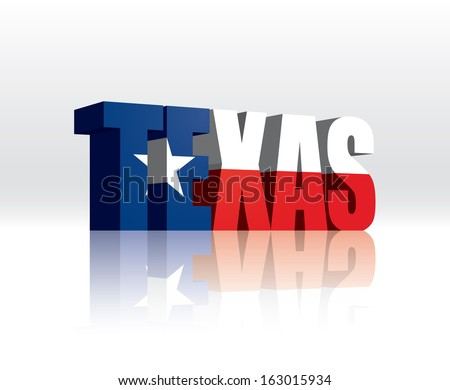 3D Vector Texas (USA) Word Text Flag  - stock vector