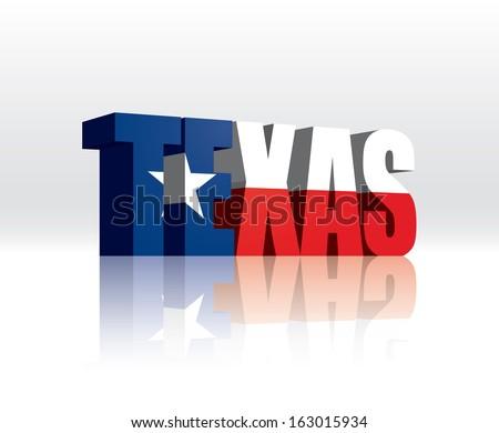 3D Vector Texas (USA) Word Text Flag  - stock vector