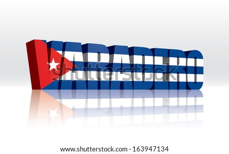 3D Vector Varadero (Cuba) Word Text Flag