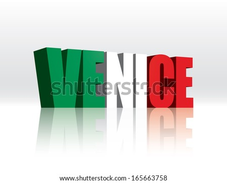 3D Vector Venice (Italy) Word Text Flag