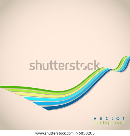 3D vector wave lines in retro style - stock vector