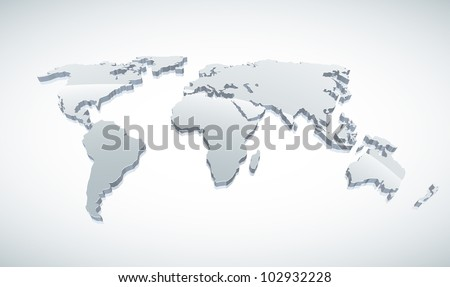3d vector world map illustration.