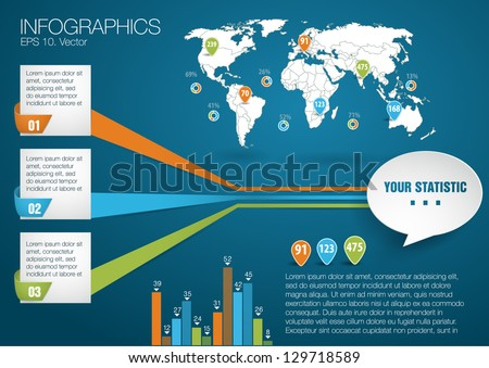 3 d vector world map illustration infographics stock vector 3d vector world map illustration and infographics design template paper style gumiabroncs Choice Image