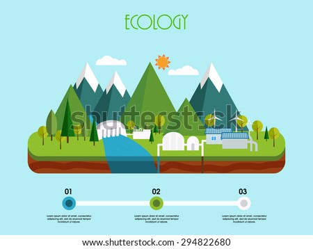 3D view of a energy industry on sky blue background, Creative infographic elements based on ecological concept. - stock vector