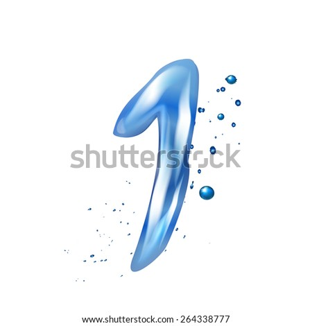 3d water number 1 isolated on white background