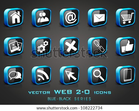 3D web 2.0 mail icons set in black and blue color. Can be used for websites, web applications. email applications or server Icons - stock vector