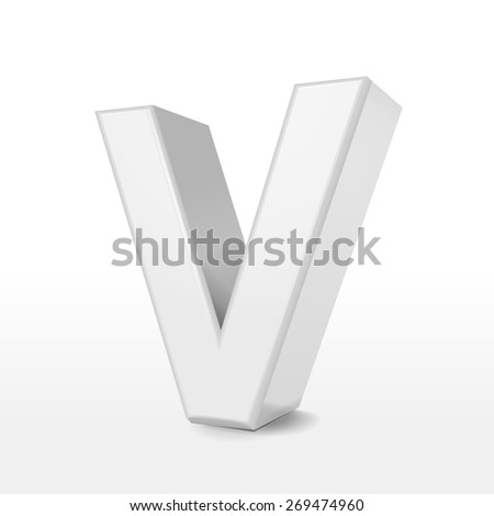 3d white alphabet V isolated on white background