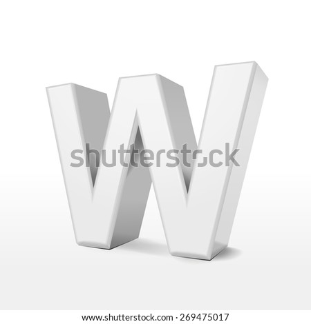 3d white alphabet W isolated on white background