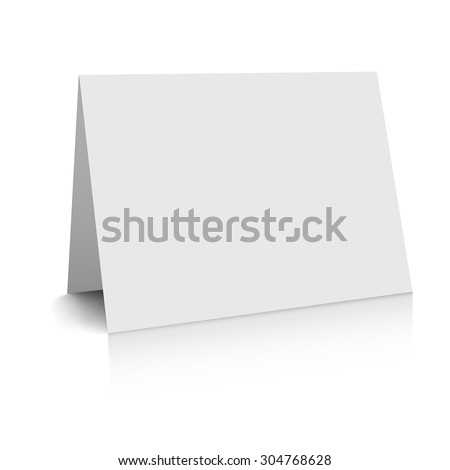 3d white blank paper card - stock vector