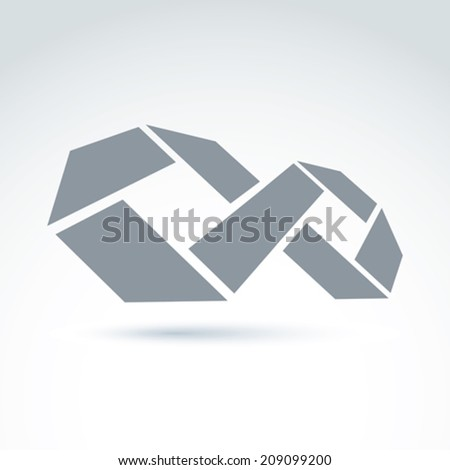 3d white infinity symbol with geometric parts, illustration of an eternity sign isolated on white background. - stock vector