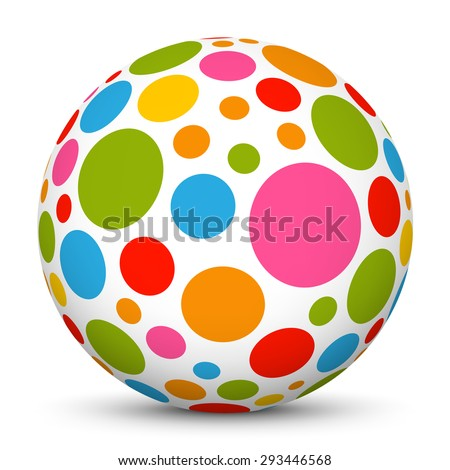 3D White Sphere with Dotted Texture on White Background and Smooth Shadow - Graphic Illustration