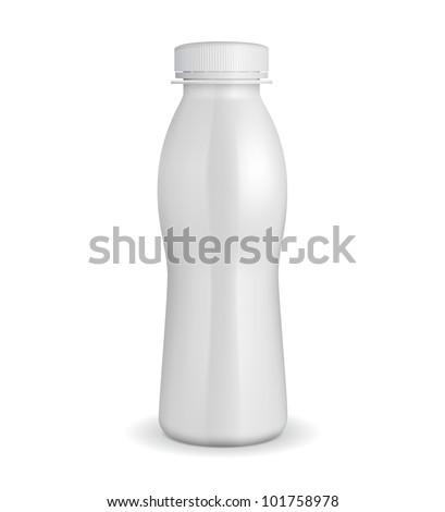 3D White Yogurt Plastic Bottle EPS10 - stock vector