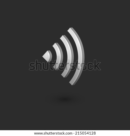 3D wifi signal icon, isolated on black background. Vector Illustration, eps 10. - stock vector