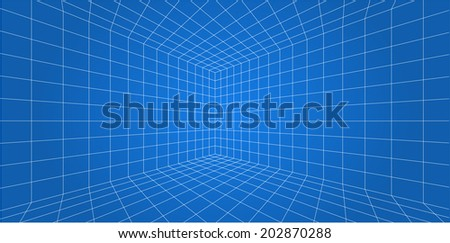 3D Wireframe grid room - Vector illustration  - stock vector