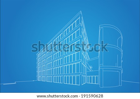 3D wireframe of building  - stock vector