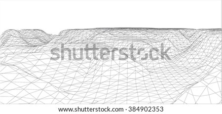 3D wireframe of contour swirl ,vector