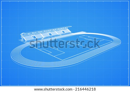 3D wireframe of soccer stadium - Vector illustration - stock vector