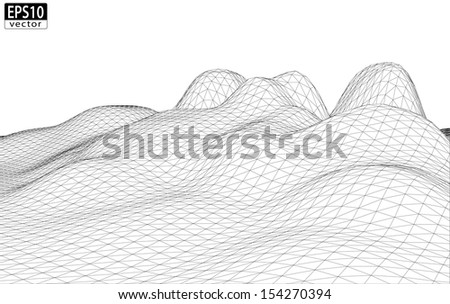 3D Wireframe Terrain (smooth) | EPS10 Vector - stock vector