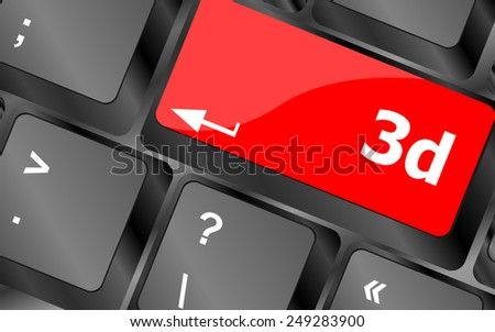 3d words symbol on a button keyboard - stock vector