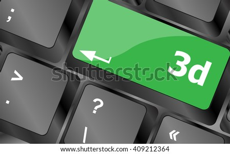3d words symbol on a button keyboard. Keyboard keys icon button vector. keyboard keys, keyboard button, keyboard icon  - stock vector