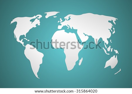 3d world map vector illustration. Simplistic and schematic design. - stock vector