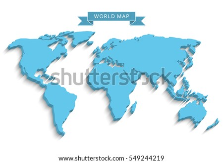 3 d world map long shadow isolated stock vector hd royalty free 3d world map with a long shadow isolated on a light background gumiabroncs Gallery