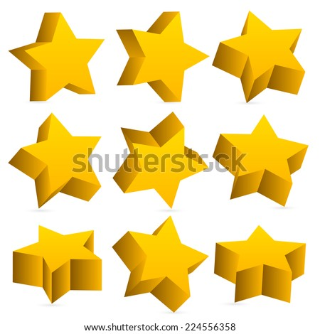 3d yellow (gold) stars with slight shadow