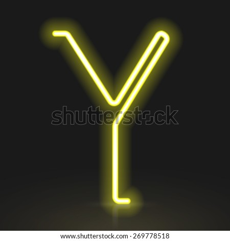 3d yellow neon light letter Y isolated on black background - stock vector