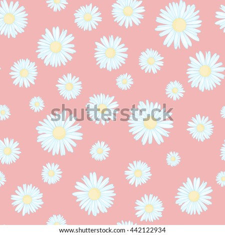 Daisy on pink background. Seamless flower pattern. Small cute simple spring summer flowers. Textile fabric texture.