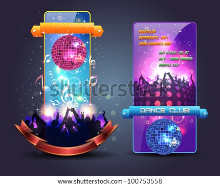 Dance Party Banner Background Flyer Templates Vector Design - stock vector