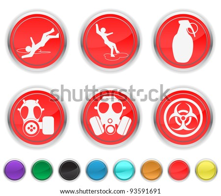 danger icons,each color icons is set on a different layer - stock vector