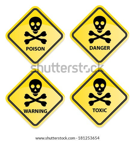 Danger sign collection black border with poison, warning, danger and toxic. Vector. - stock vector