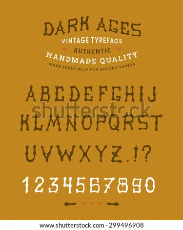 16 Dark Ages Hand crafted retro vintage typeface design. Original handmade textured lettering type alphabet on yellow background. Authentic handwritten font, vector letters. - stock vector