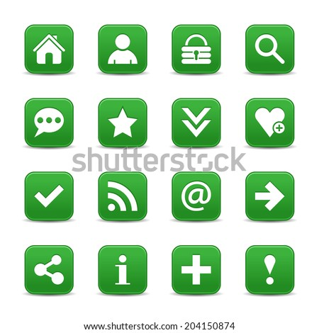 16 dark green satin icon with basic sign. Rounded square web internet button with gray shadow on white background. Vector illustration design element 8 eps - stock vector
