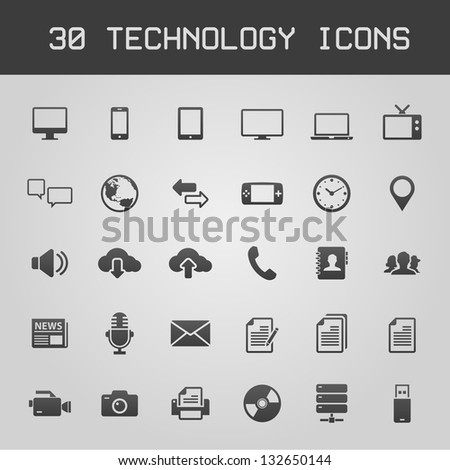 30 Dark technology icons vector illustration - stock vector