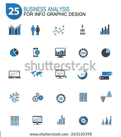 25 Data analysis design icon set,blue version,clean vector - stock vector