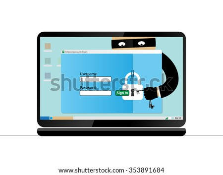 Data theft. Hacker breaks into computer. Cyber attacker trying to hack computer. Vector concept abstract illustration. Isolated on white background.