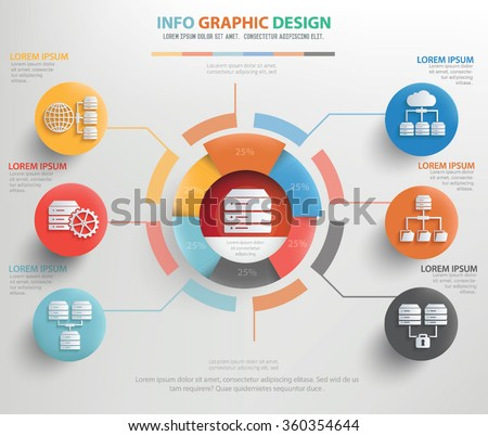 Database server info graphic design, vector  - stock vector