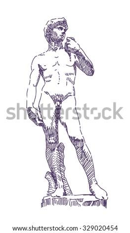 David statue by Michelangelo vector drawing - stock vector