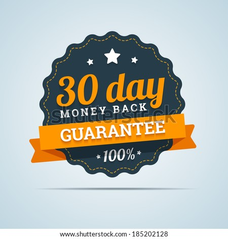 30 day money back badge. Vector illustration in flat style. - stock vector