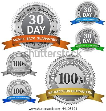 30 Day Money Back Guaranteed and 100% Satisfaction Guaranteed Sign Set - stock vector