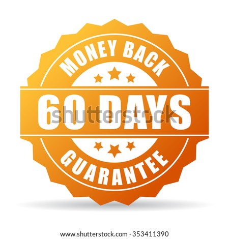 60 days money back gold icon - stock vector