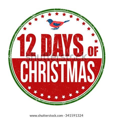 12 Days of Christmas grunge rubber stamp on white background, vector illustration - stock vector