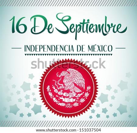 """""""16 de Septiembre, dia de independencia de Mexico"""" - September 16 Mexican independence day spanish text card - poster - ribbon - stock vector"""