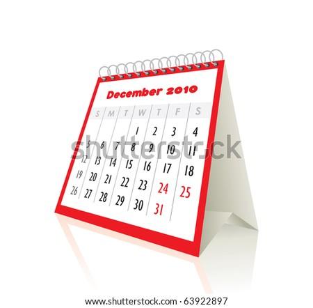 2010 december calendar in editable vector format - stock vector