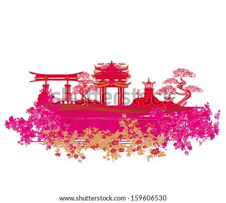 Decorative Chinese landscape card  - stock vector