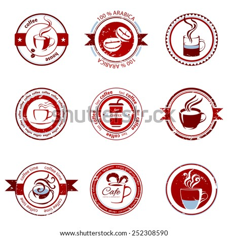 9 decorative coffee stamps over white background - stock vector
